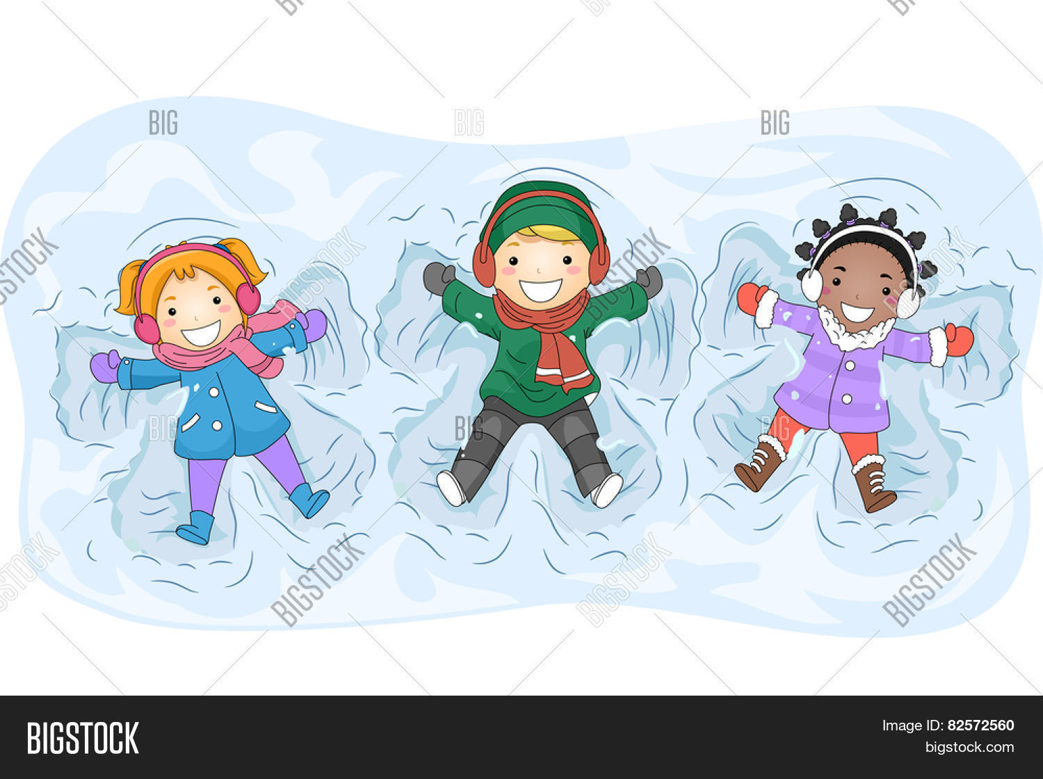 Illustration of Kids in Winter Gear Making Snow Angels Stock.