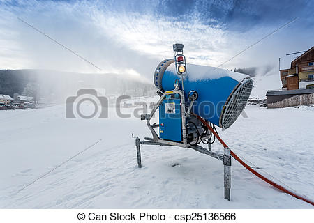 Stock Image of Bug snow gun making artificial snow at cold day.