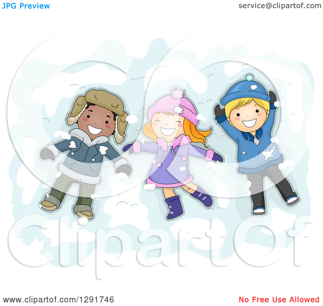 Clipart of a Group of Happy White and Black Children Making Snow.