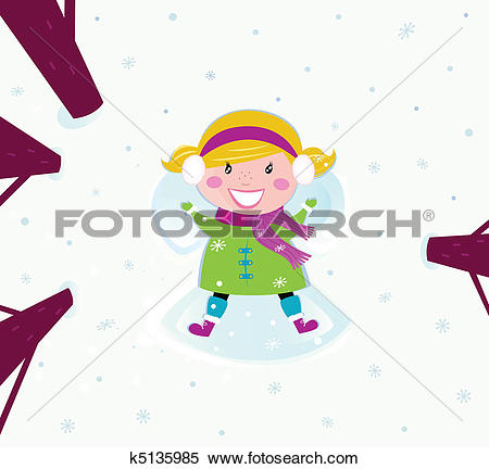 Clipart of Happy girl in snow making angel k5135985.