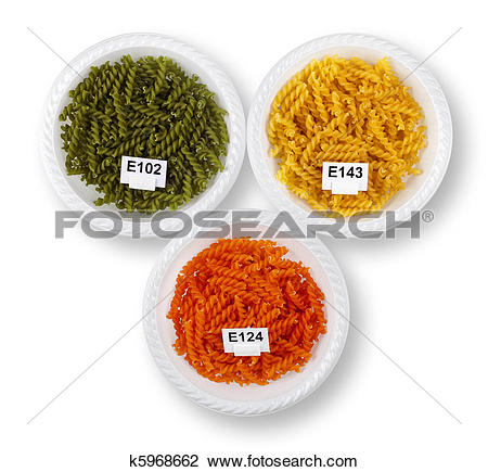 Stock Photo of Artificially colored pasta in plates k5968662.