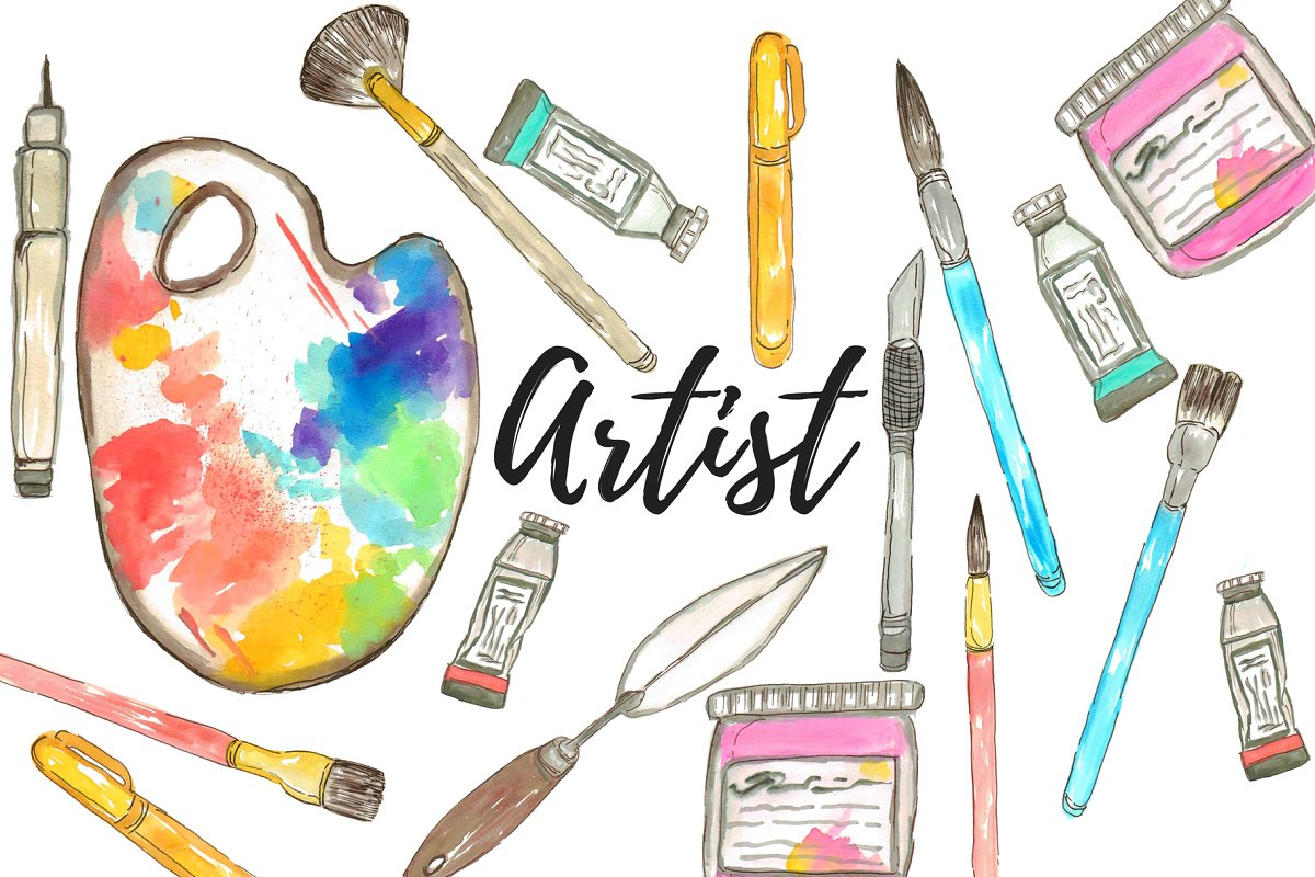 Watercolor Artist Clipart.