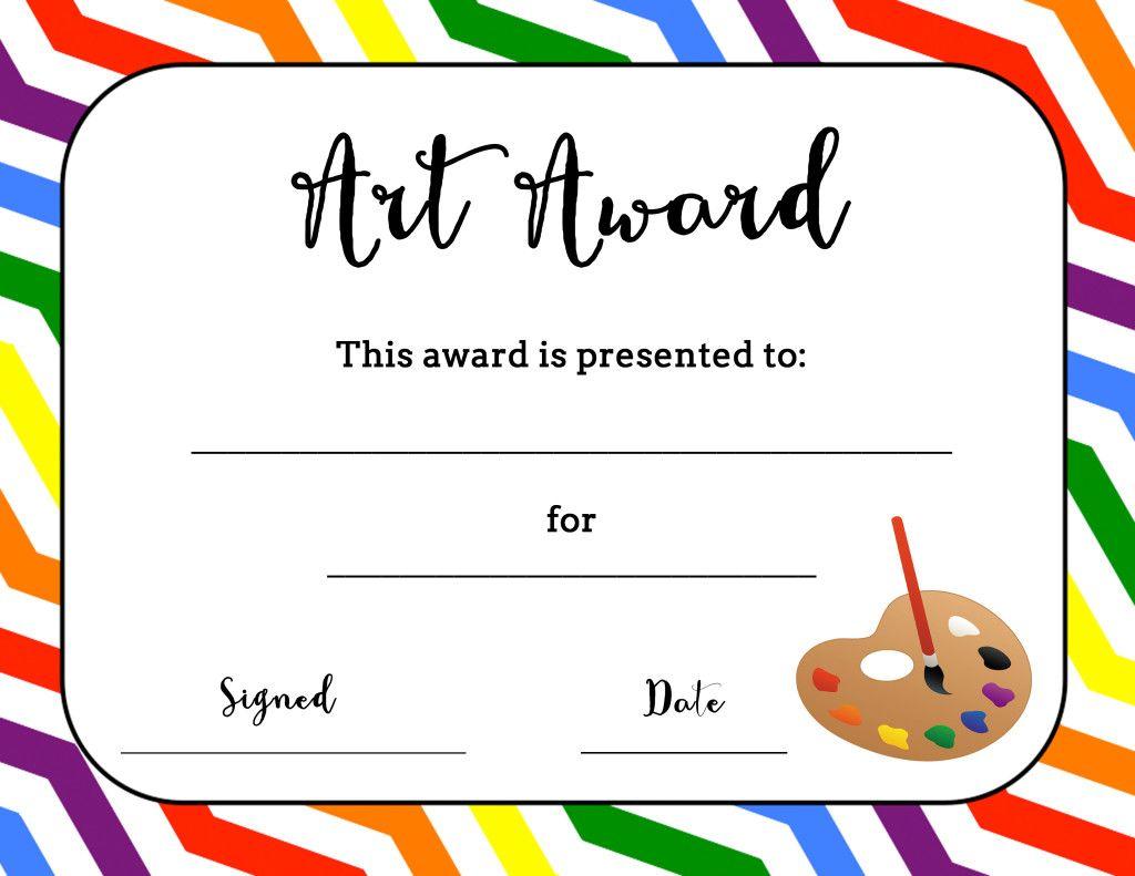 Art Award Certificate (Free Printable).