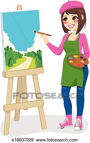 Artist Painting Park Clip Art.