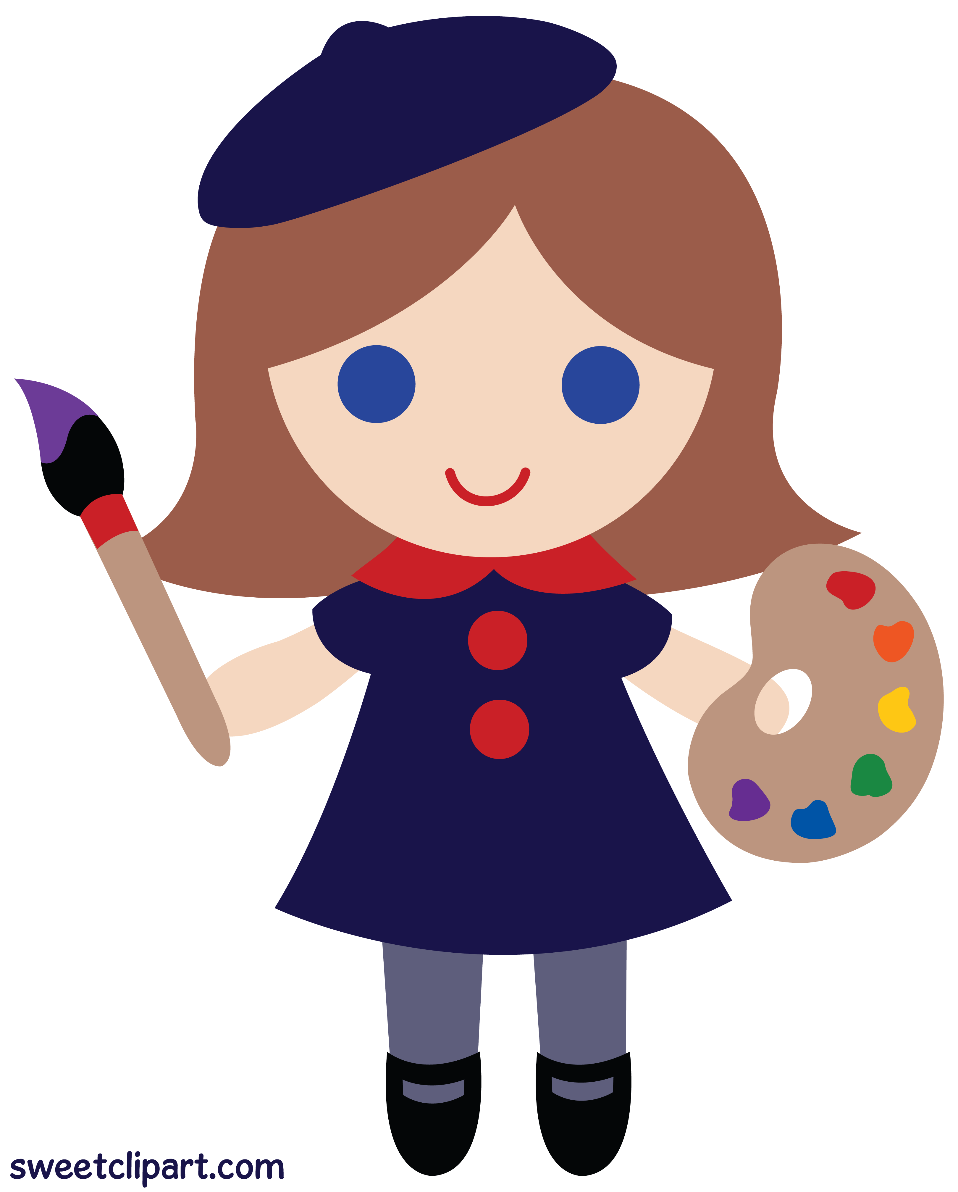 Little Artist Girl Clip Art.