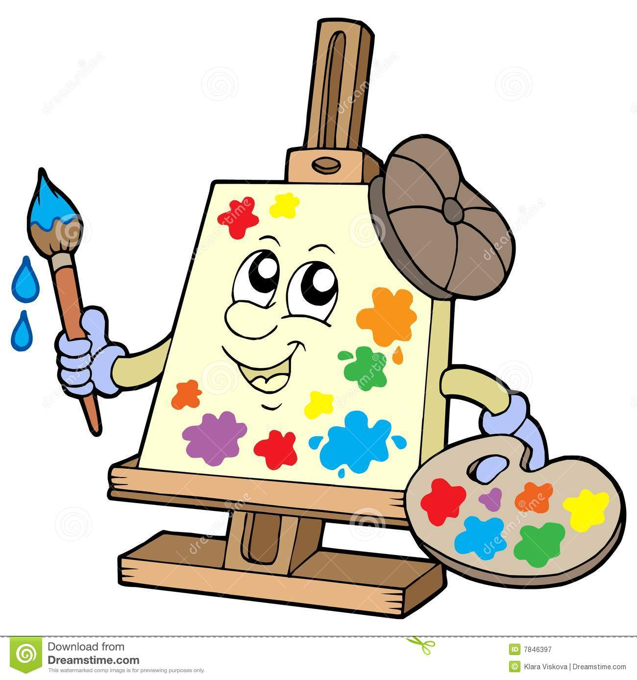 Cartoon canvas artist stock vector. Illustration of hobby.
