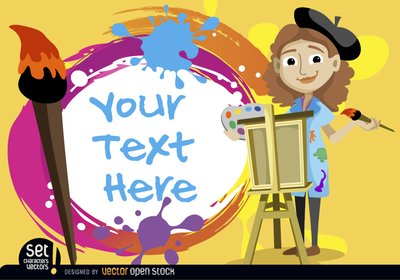 Free Artist girl with painted text Clipart and Vector Graphics.