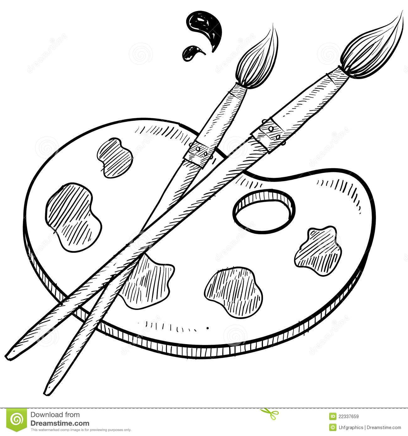 paintbrush clipart black and white.