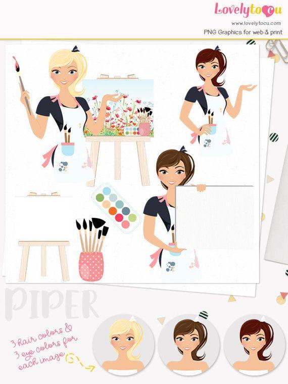 Artist clipart, painter character clip art, art teacher.