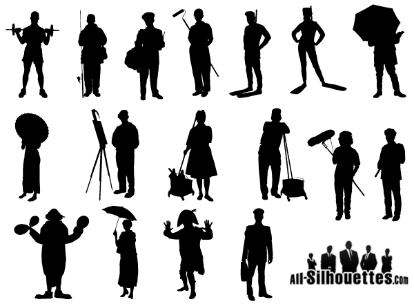 Working People Silhouette Vector Free.