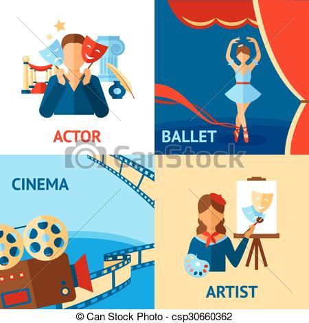 Clip Art Vector of Art And Culture Design Concept Set.