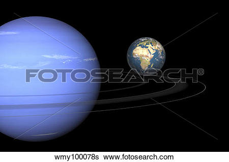 Stock Illustration of Artist' concept of Neptune and Earth.