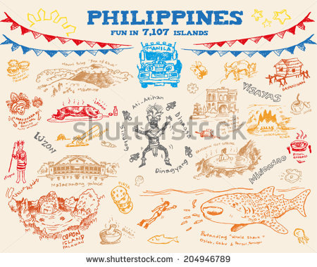 Philippines Tourism Doodle Collection Eps10 Editable Stock Vector.