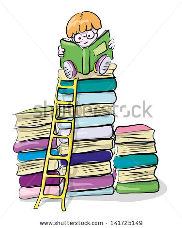Reading Boy On Books Vector Clipart Stock Vector 141725149.