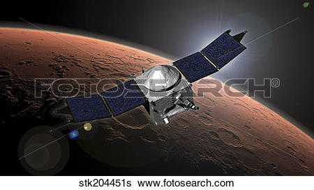 Stock Illustration of Artist concept of NASA's Mars Atmosphere and.