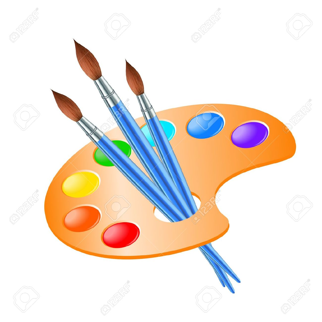 Art Palette With Paint Brush For Drawing Vector Illustration.