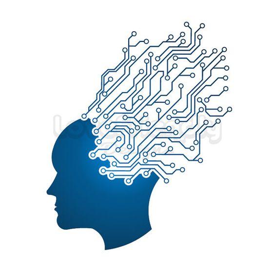Man Head circuit mind logo. clipart. Concept of technology, mind.