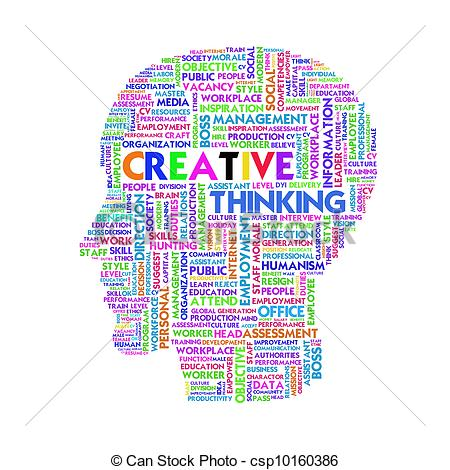 Stock Illustration of Word cloud business concept inside head.