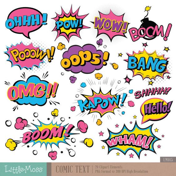 Texte comique Digital Clipart, Clipart texte super héros, super.