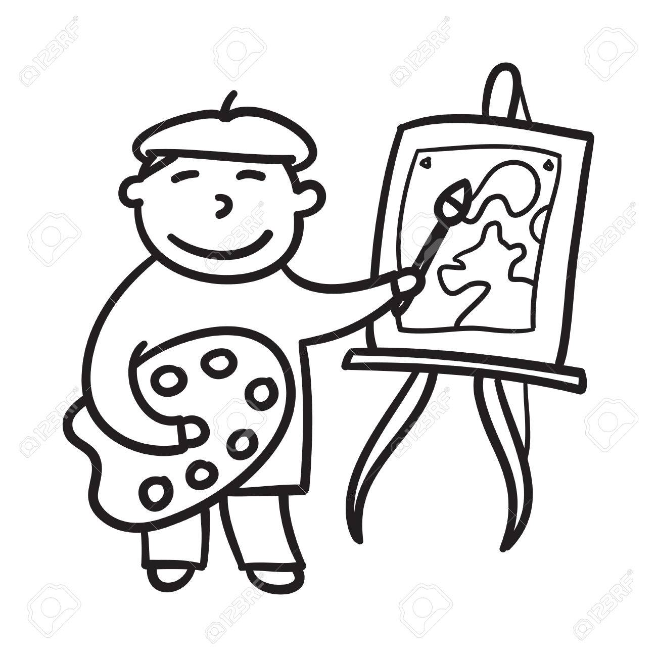Boy drawing hand drawn vector illustration. Child painting. Little...