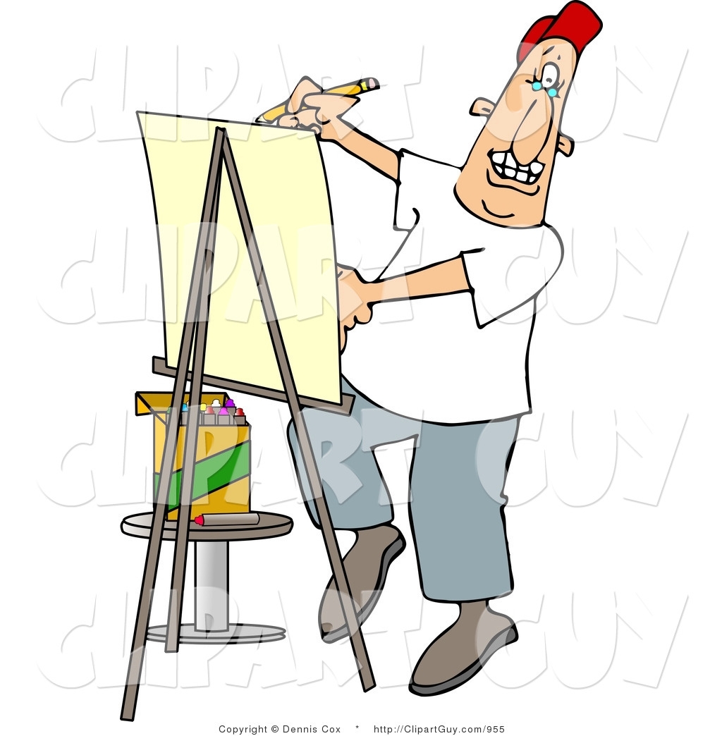 Clip Art of a Male Artist Drawing Caricature on Posterboard by djart.