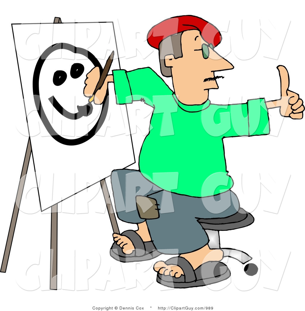 Clip Art of a Male Artist Drawing a Smiley Face on Canvas with a.