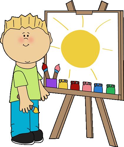 Boy Painting on an Easel Clip Art.