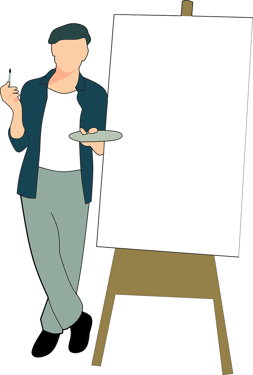 Artist with an easel clipart. Free download..