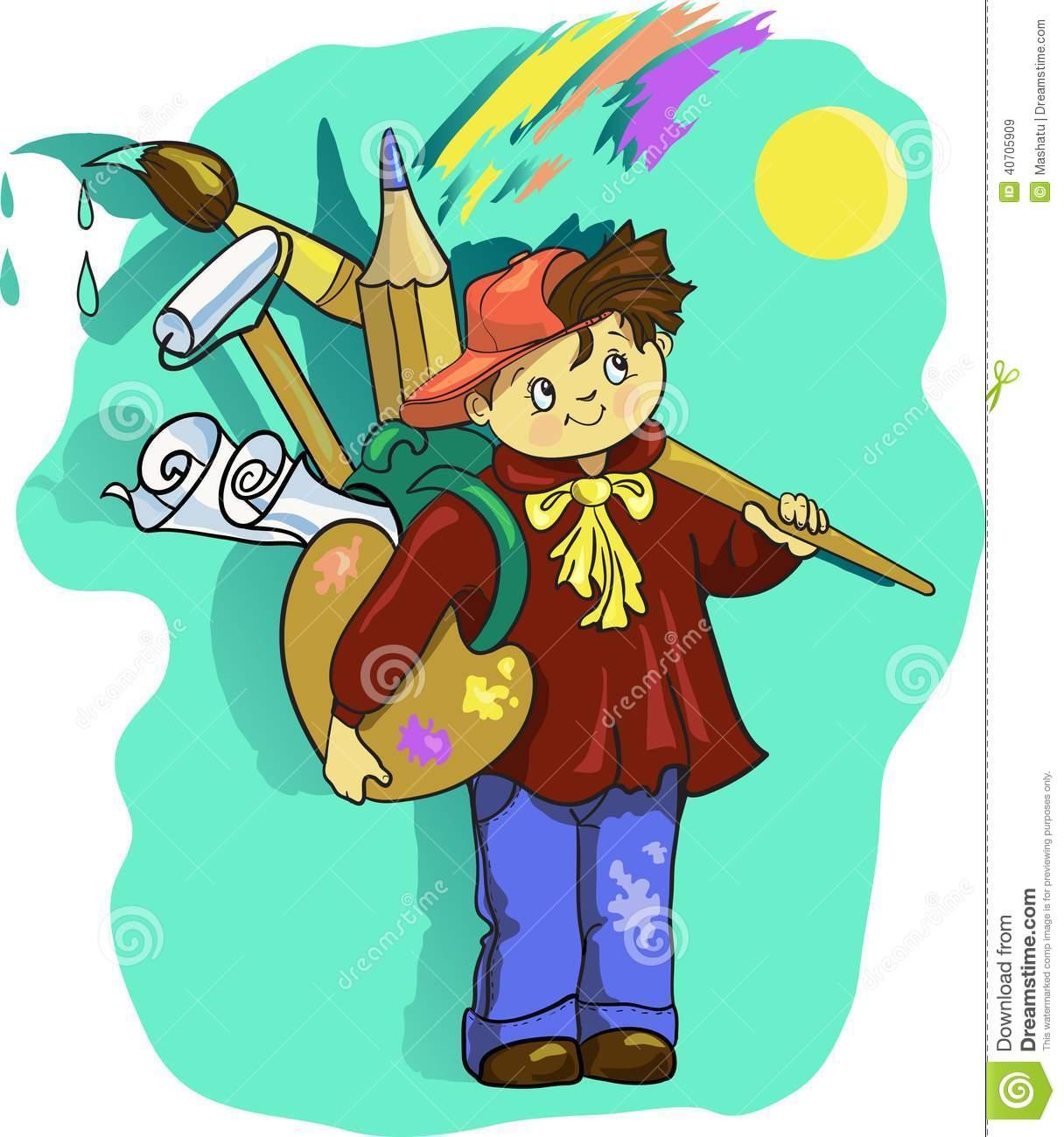 Cartoon Artist Boy Vector Clip Art Illustration With Brush Stock.