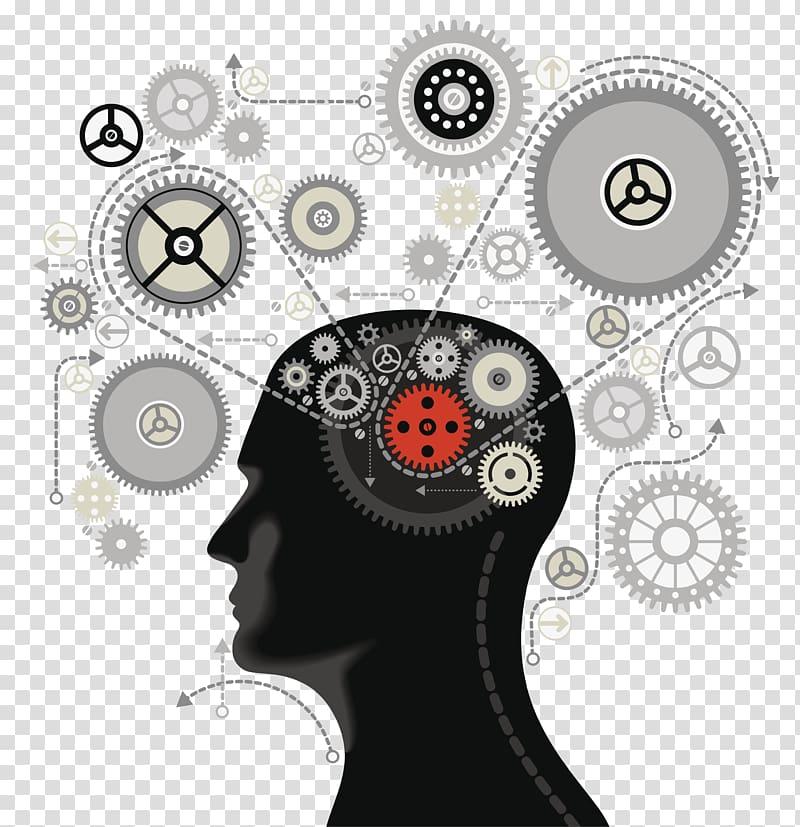 Brain gear , Mind map Thought Subconscious Awareness.
