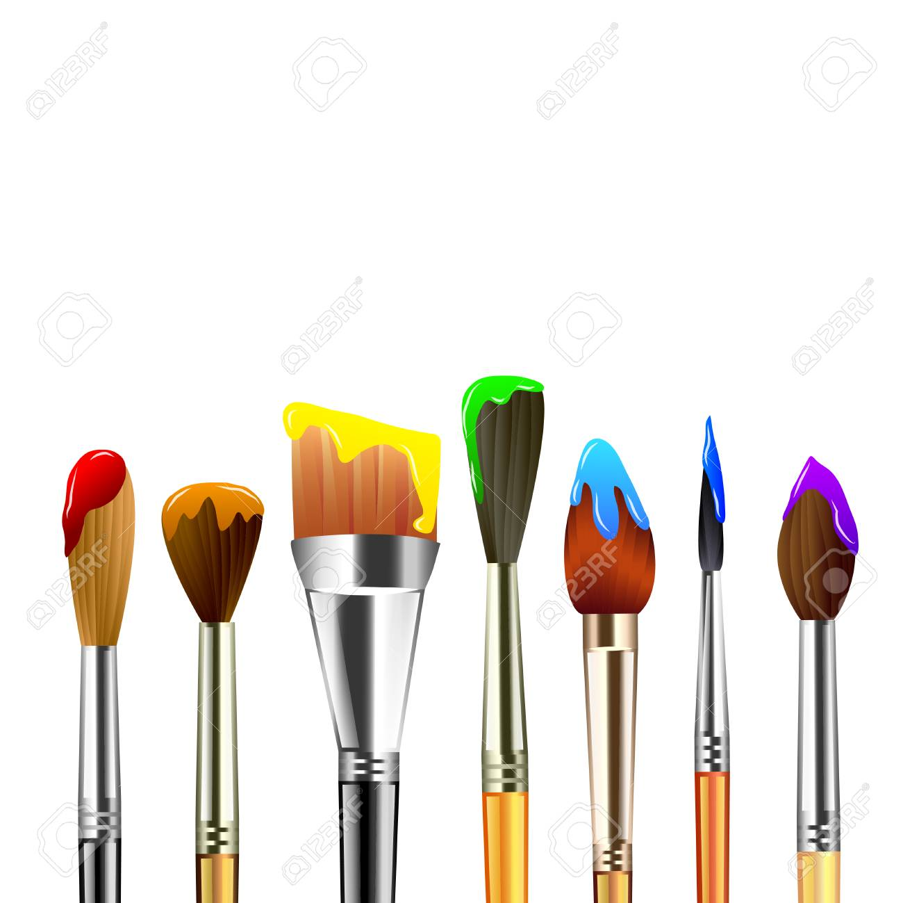 Artist paint brushes isolated on white background vector.