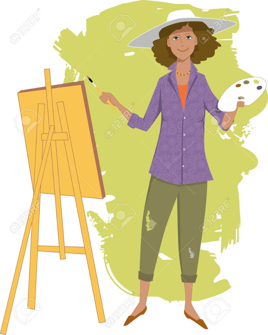 Female artist painting.