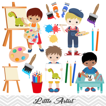 Digital Little Artist Boy Clip Art, Boy Art Party Clip Art, Painting Boy  Clipart.