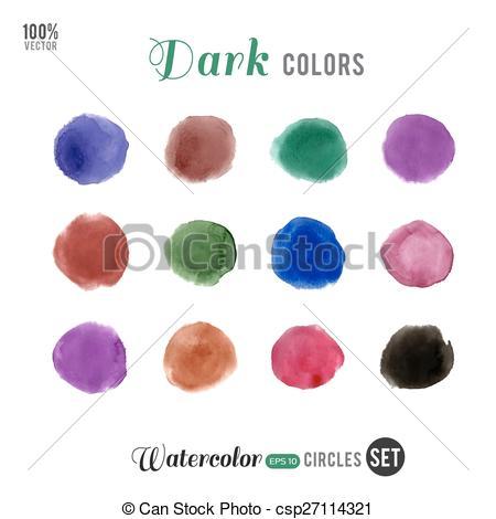 Watercolor dark palette 12 color circles.