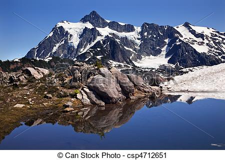 Stock Photography of Mount Shuksan Blue Snow Pool Artist Point.