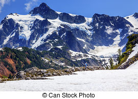 Stock Photography of Mount Shuksan Small Reflection Artist Point.