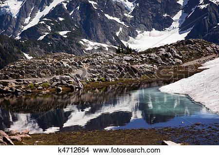 Stock Photo of Small Reflection Lake Mount Shuksan Artist Point.