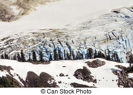 Stock Image of Mount Shuksan Close Up Evergreens Artist Point.