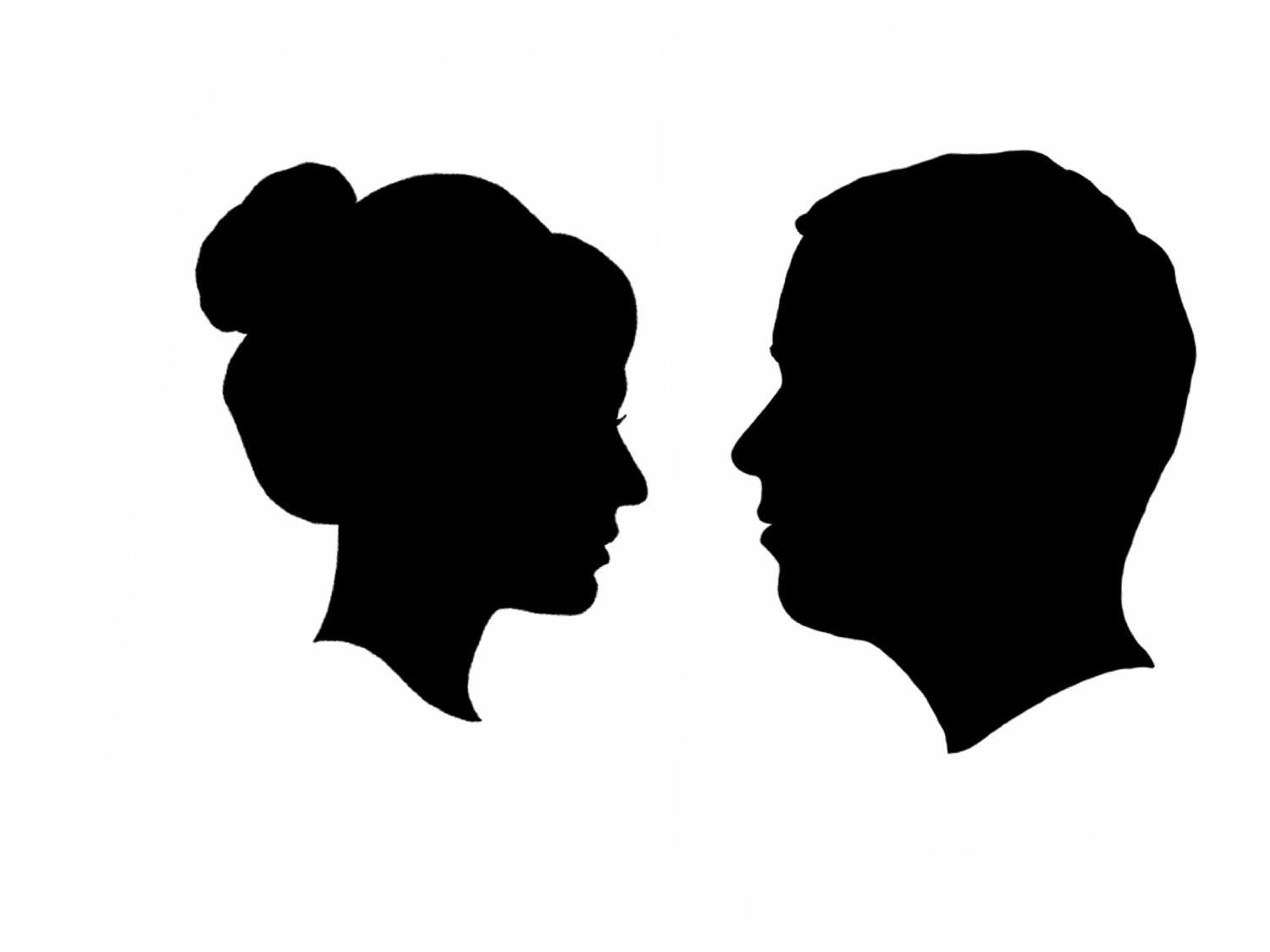 Side Face Silhouettes Clipart.