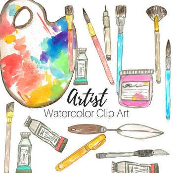 Watercolor Artist Art Supplies Clip Art in 2019.