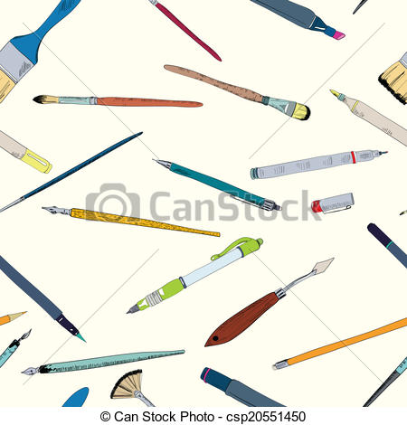 Drawing tools doodle sketch seamless.