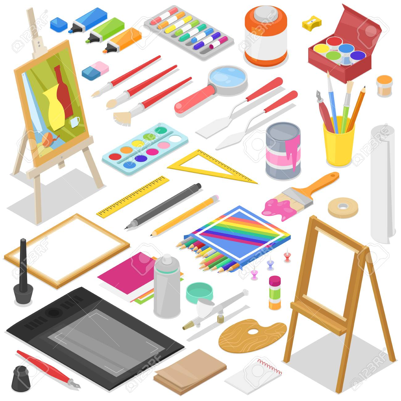 Artist tools vector watercolor with paintbrushes palette and...