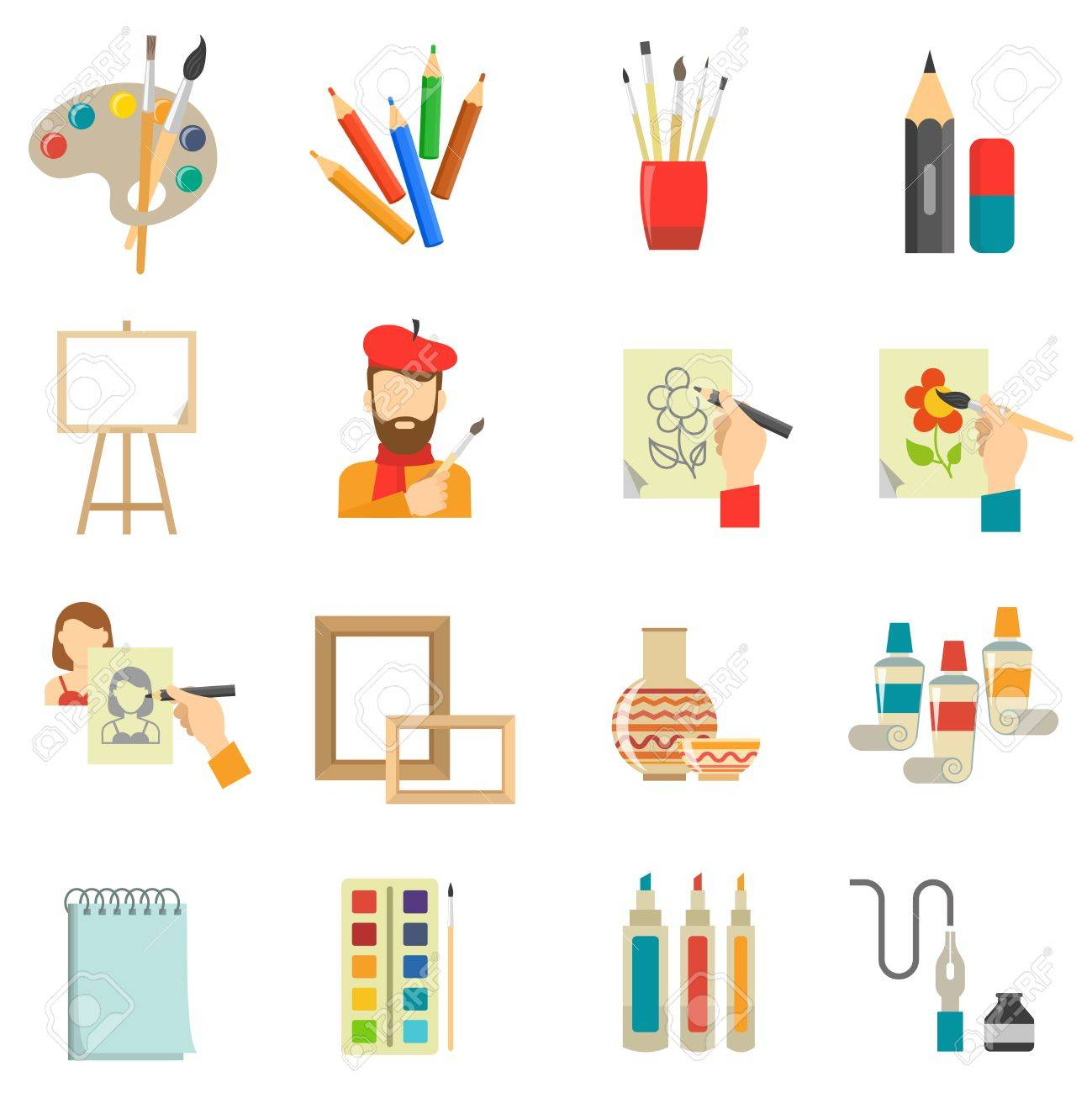Art icons set with artist tools and paint isolated vector illustration.