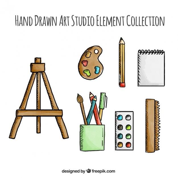 Hand drawn artist tools Vector.
