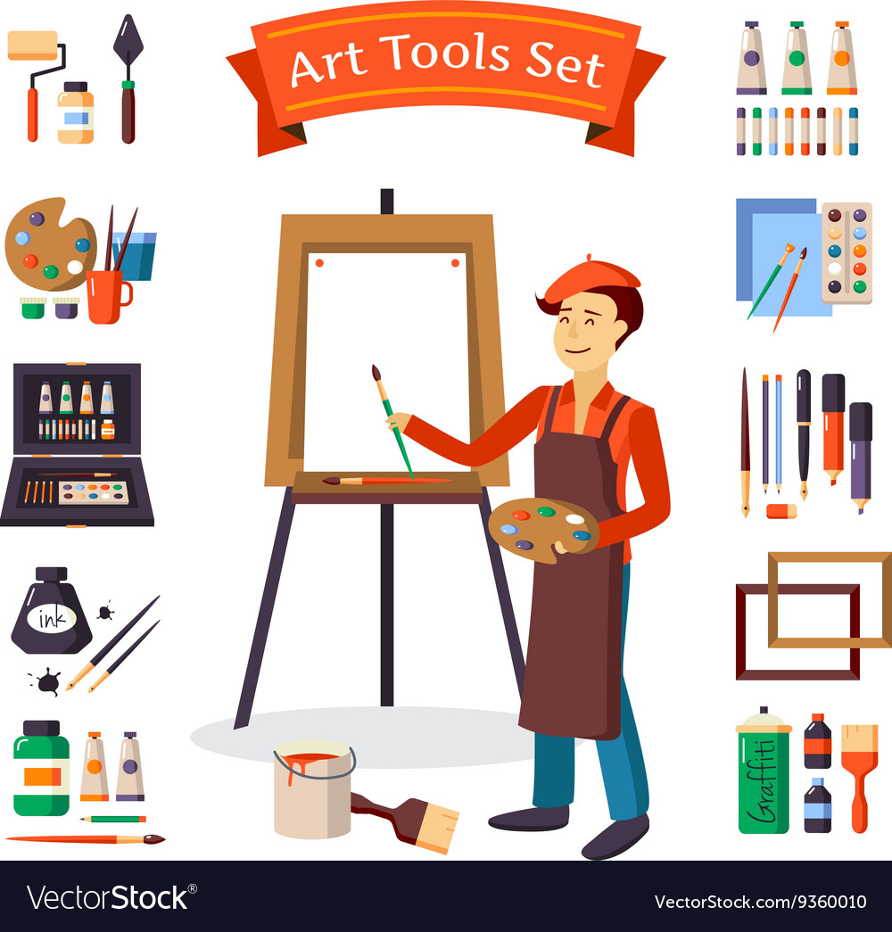 Artist And Art Tools Set.