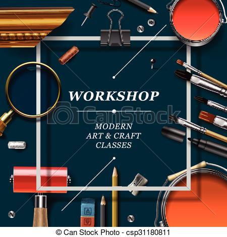 Vector Clip Art of Artist workshop template.