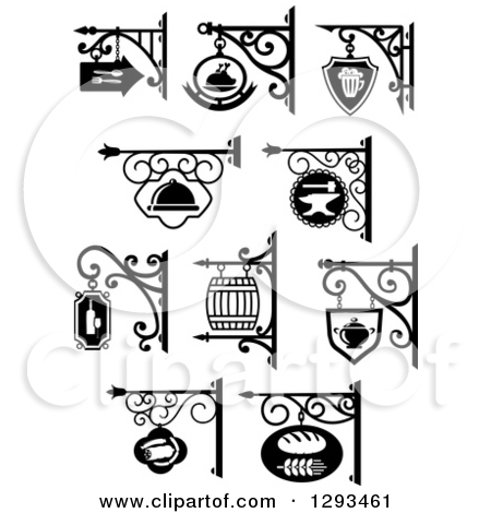 Clipart of Vintage Black and White Hanging Storefront Signs for a.