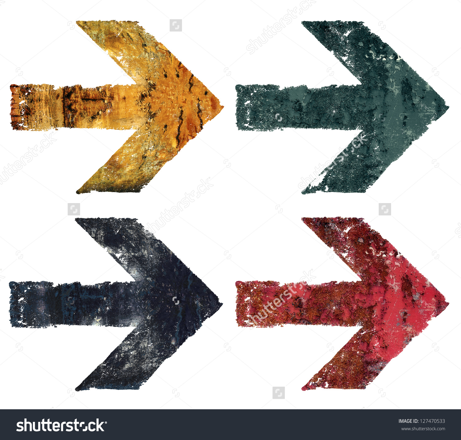 Artistic Grunge Design Arrows Set Isolated Stock Illustration.