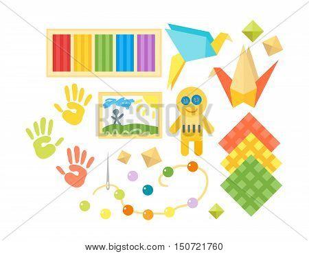 Themed kids creativity creation symbols art poster in flat style.