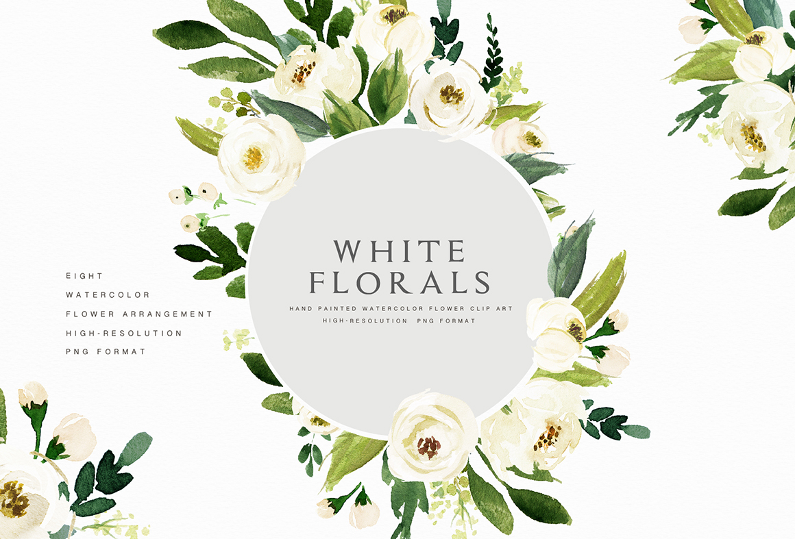 Watercolor White Flower Clip Art.